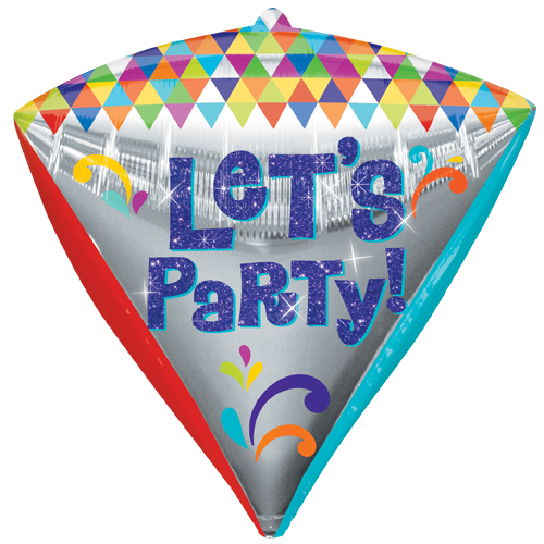 "17"" Diamondz Happy Birthday Let's Party Foil Balloon"